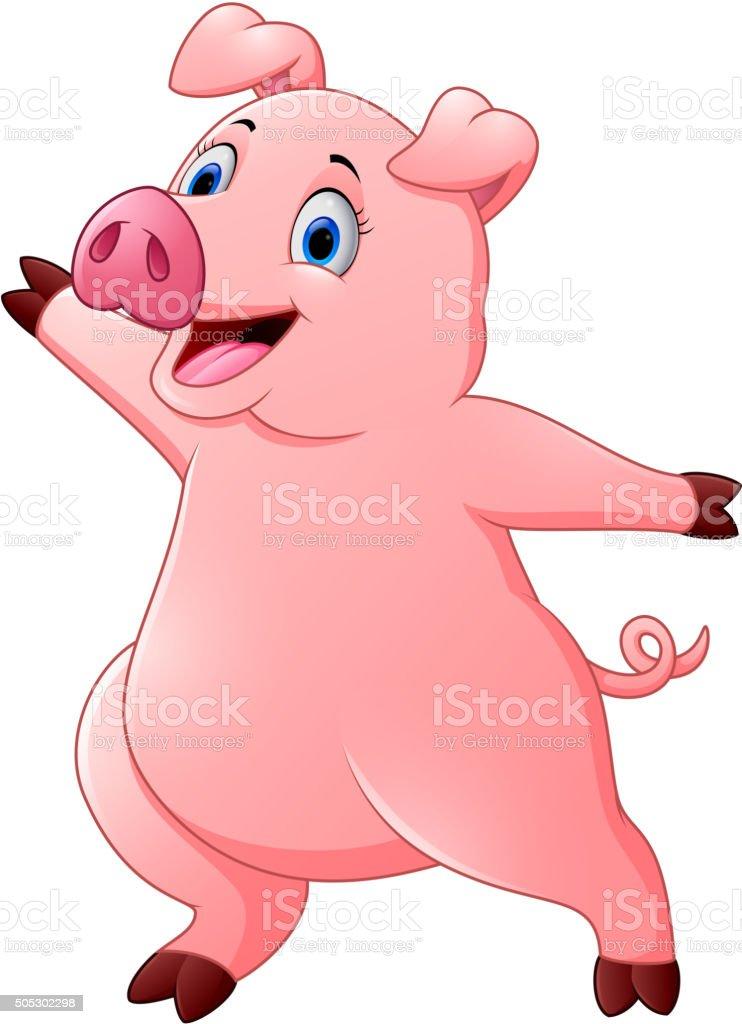 カットイラスト手を振るハッピーな豚の丸焼き おもちゃのベクター