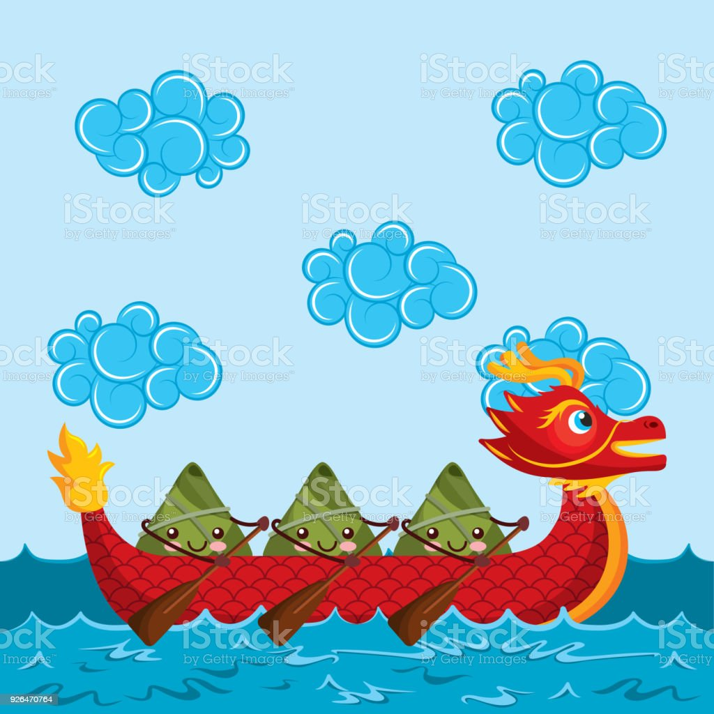 Cartoon Happy Rice Dumplings Paddling Red Dragon Boat Royalty Free