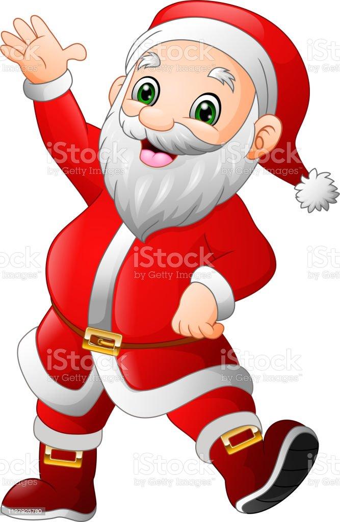 Imagenes De Papa Noel Animado.Ilustracion De Dibujos Animados Feliz Papa Noel Saludando Y