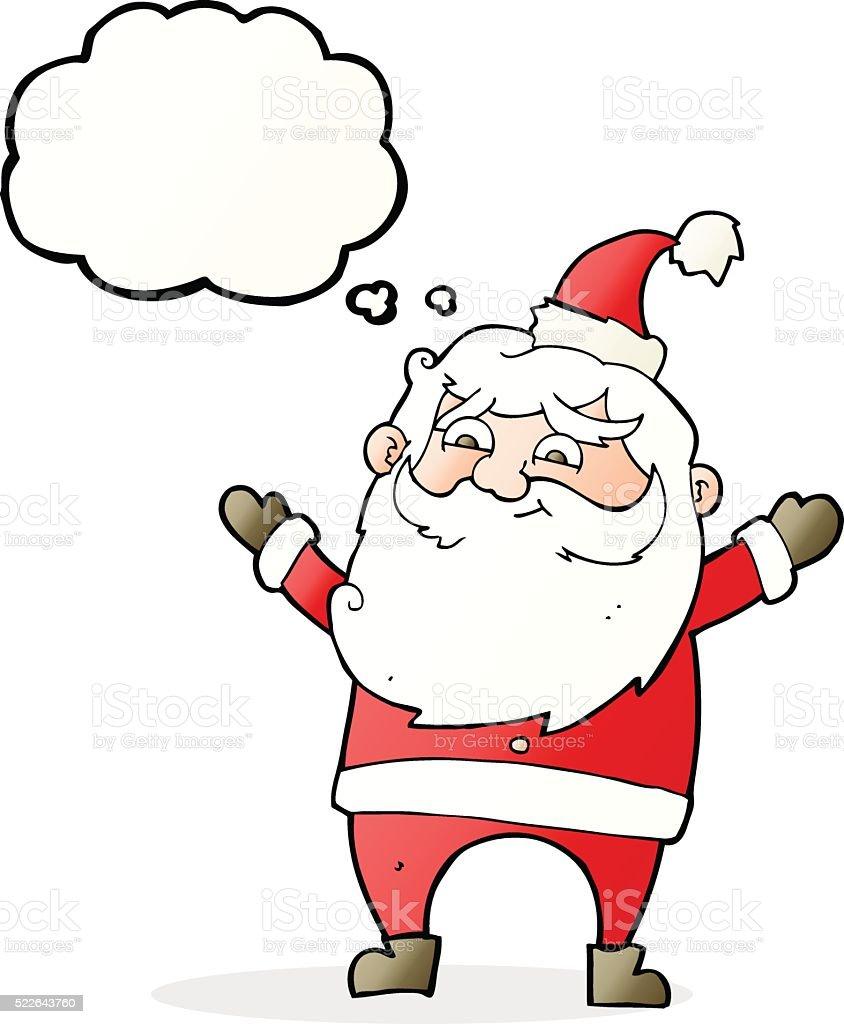 Vetores De Feliz Papai Noel Dos Desenhos Animados Com Balao De