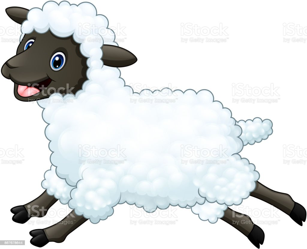 Cartoon Happy Sheep Jumping Isolated On White Background Stock ... for Happy Lamb Jumping  45hul