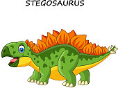 Cartoon happy stegosaurus isolated on white background