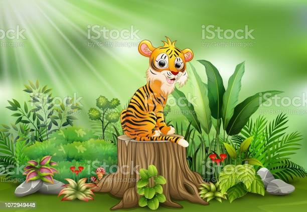 Cartoon happy tiger sitting on tree stump with green plants vector id1072949448?b=1&k=6&m=1072949448&s=612x612&h=wxwc6lr8cuwigu6s5x5avjigbt74rldvicmwmkdt9so=