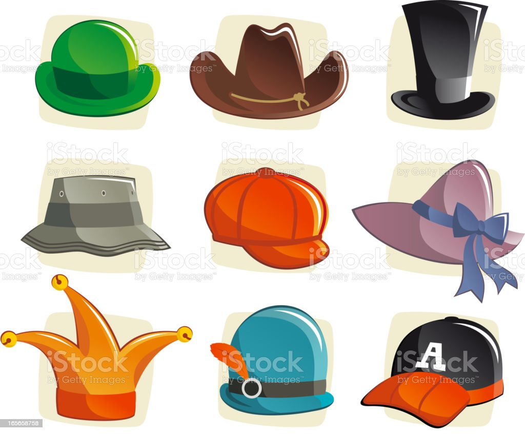 Cartoon hats headwear bowler cowboy top hat bucket cloche cap royalty-free cartoon hats headwear bowler cowboy top hat bucket cloche cap stock vector art & more images of baseball cap