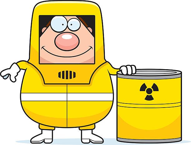 cartoon hazmat waste - cartoon of a hazmat suit stock illustrations, clip art, cartoons, & icons
