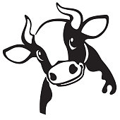 cartoon head of  cow  .Black and white icon , emblem . Vector illustration