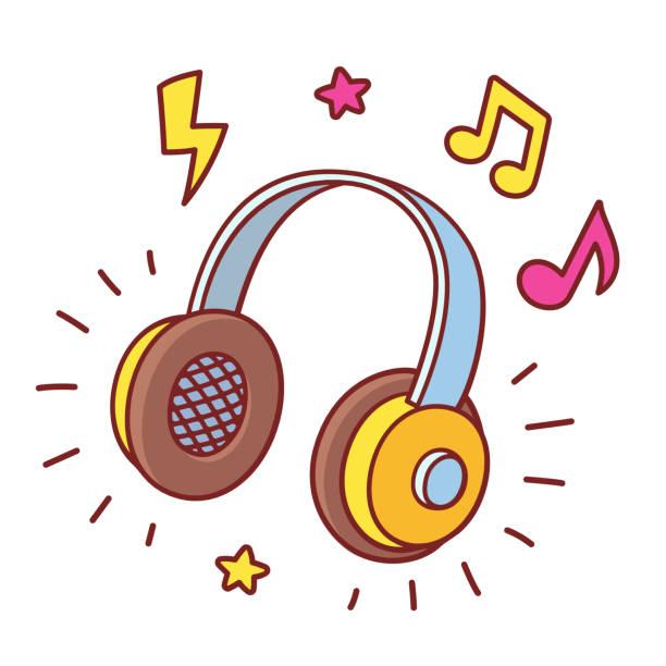 bildbanksillustrationer, clip art samt tecknat material och ikoner med tecknade headhpones spelar musik - headset