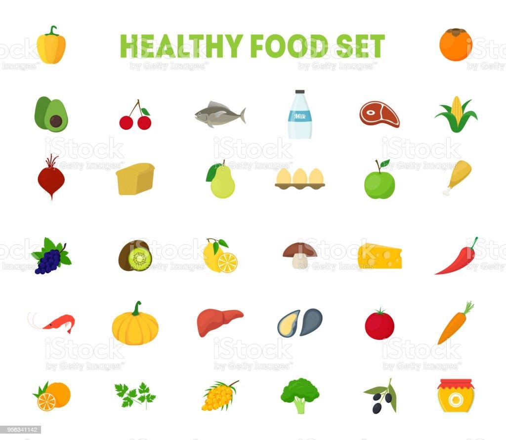 Vetores De Desenhos Animados Alimentos Saudaveis Sinais Icones