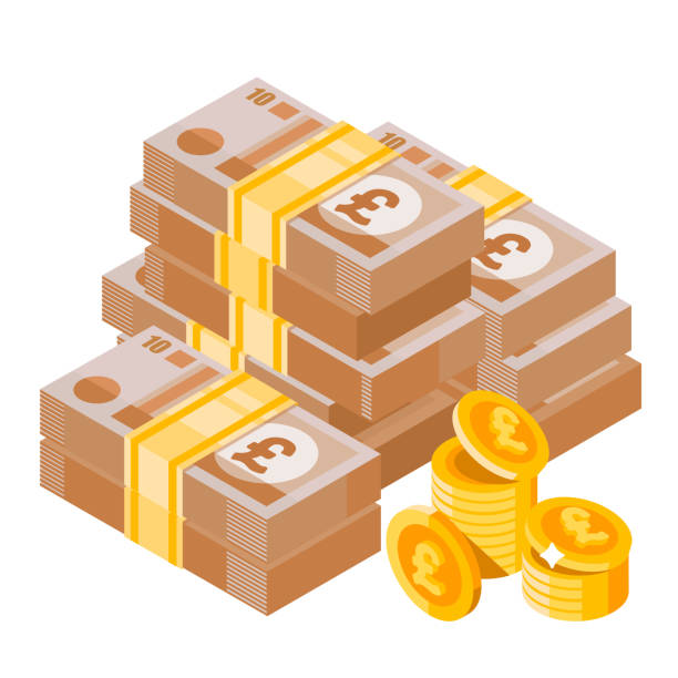 cartoon heap of pound sterling. big pile of english money. money icon in isometric style. - символ фунта stock illustrations
