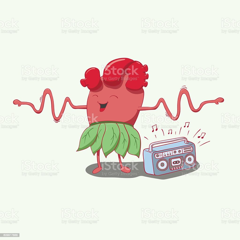 Cartoon Heart Character Dancing And Smiling Hands Like A Cardiogram ...