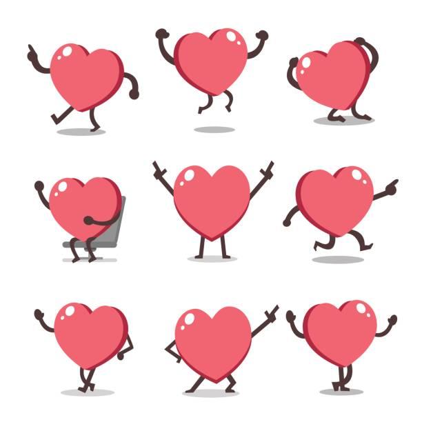cartoon heart character poses - jumping stock illustrations