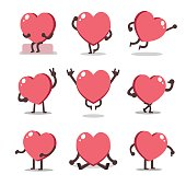 Cartoon heart character poses for design.