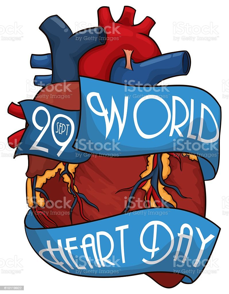 Cartoon Heart Design with Ribbons to Commemorate World Heart Day vector art illustration