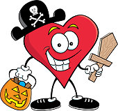 Cartoon heart dressed as a pirate.