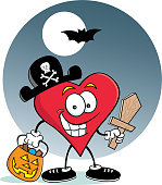 Cartoon heart dressed as a pirate with a background.