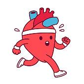 Cartoon heart exercising