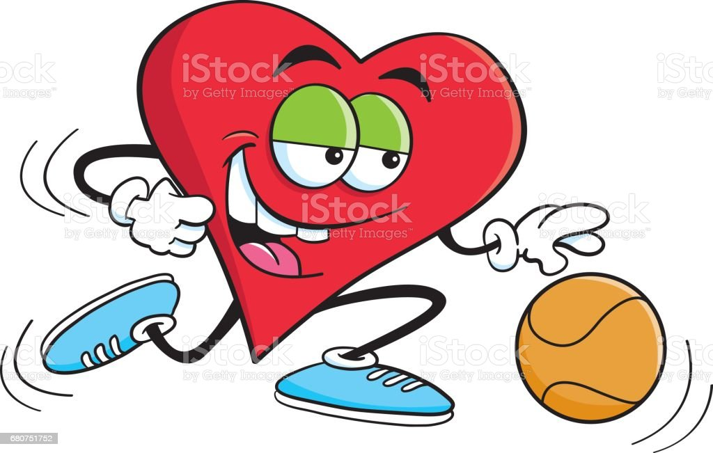 Cartoon heart playing basketball.