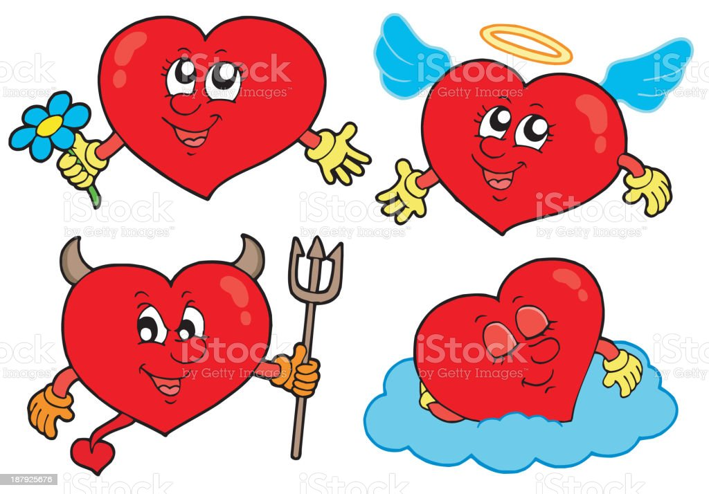 Cartoon hearts collection royalty-free cartoon hearts collection stock vector art & more images of anthropomorphic smiley face