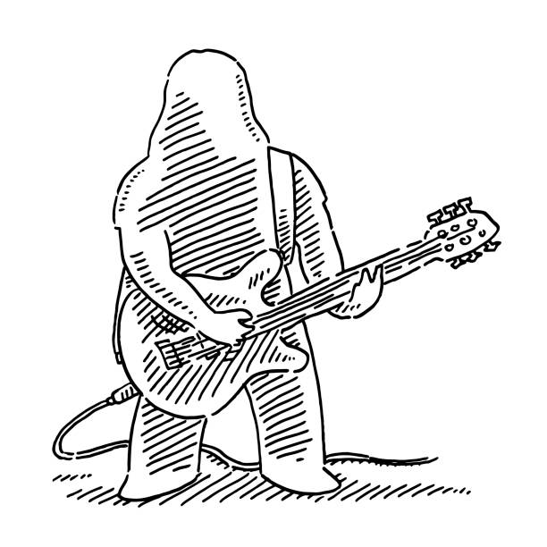 Cartoon Heavy Metal Musician E-Guitar Player Drawing Hand-drawn vector drawing of a Cartoon Heavy Metal Musician E-Guitar Player. Black-and-White sketch on a transparent background (.eps-file). Included files are EPS (v10) and Hi-Res JPG. cartoon character figure stock illustrations