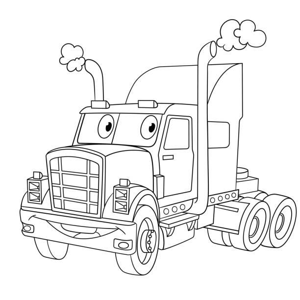ilustrações de stock, clip art, desenhos animados e ícones de cartoon heavy semi-truck - exhaust white background