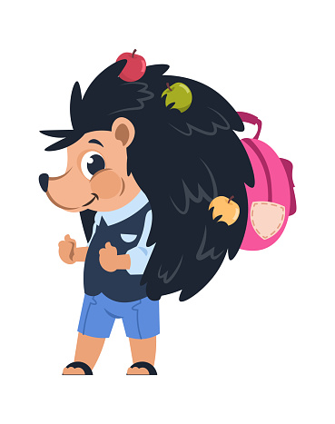 Cartoon hedgehog. School animal with apples pricked on needles. Cute forest citizens in uniform with backpack for studying. Childhood emblem template. Vector character illustration