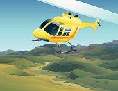 Flying chopper over landscape.