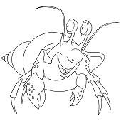 cartoon hermit crab coloring page