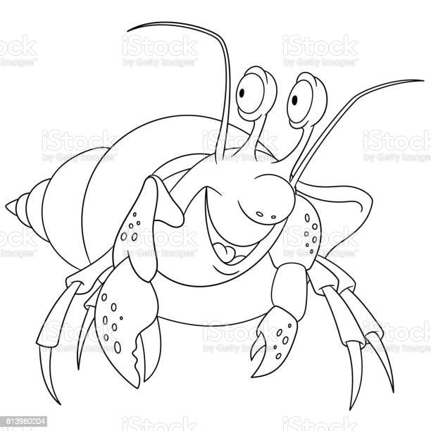 Cartoon Hermit Crab Coloring Page Stock Illustration Download Image Now Istock