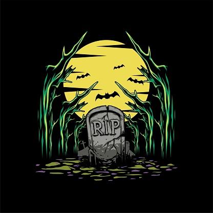 Cartoon High Quality Horror Forest  Themed T-shirt Design Vector Illustration