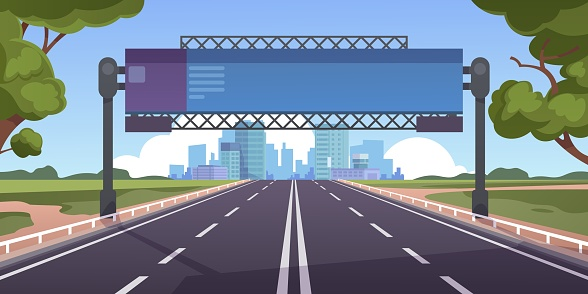 Cartoon highway. Empty road with city skyline on horizon and nature landscape, highway view. Vector scene with road to city