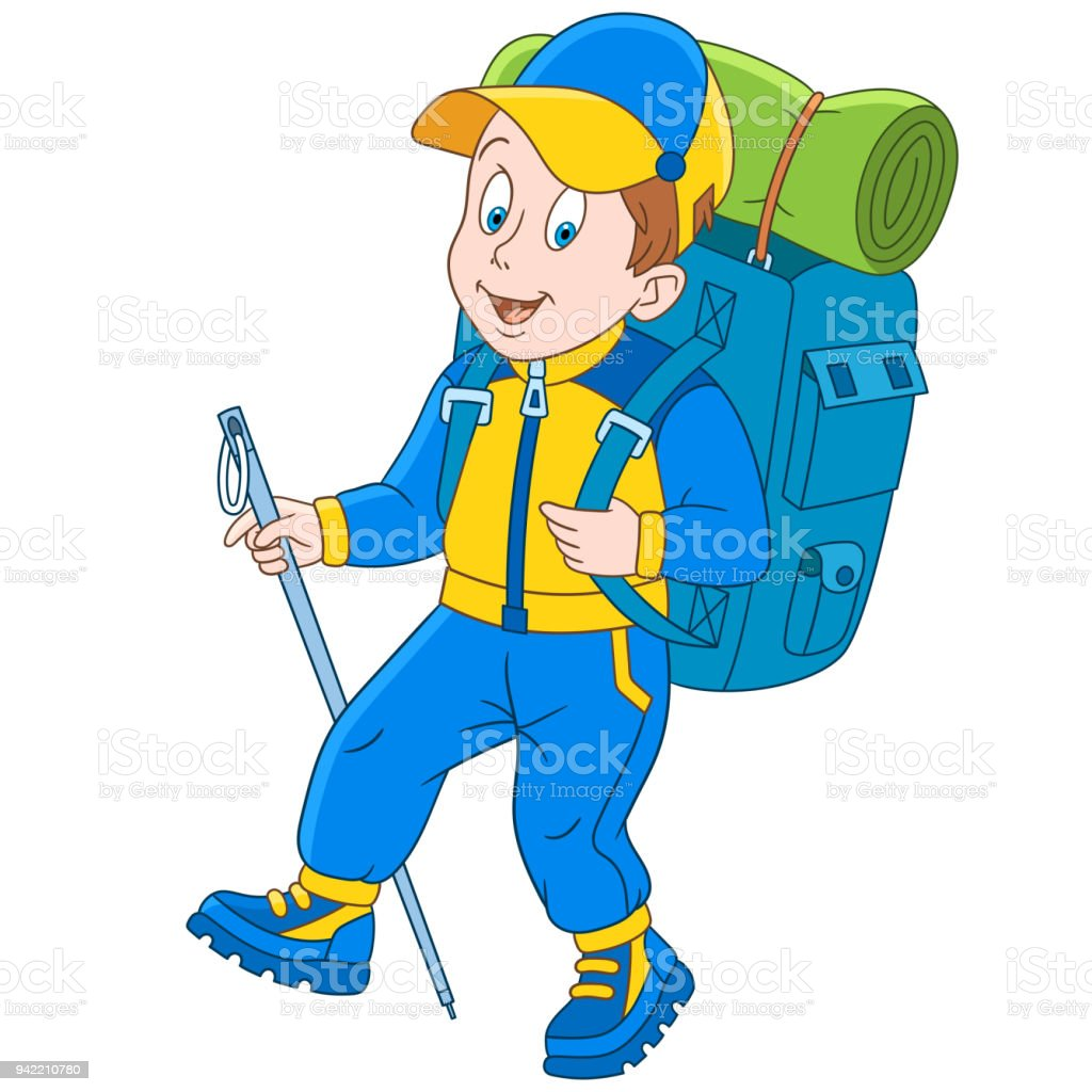 cartoon hiker and mountain climber stock vector art more images of rh istockphoto com mountain climber clipart mountain climber clipart free
