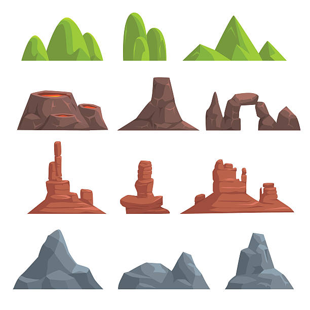 cartoon hills and mountains set - rock formations stock illustrations