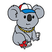 Cartoon hip hop koala illustration.