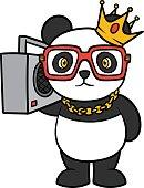 Cartoon Hip Hop Panda Vector Illustration