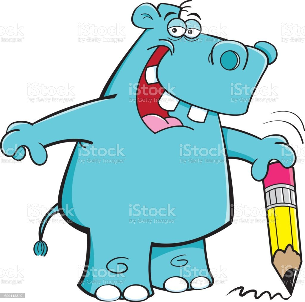 Cartoon hipp holding a pencil.