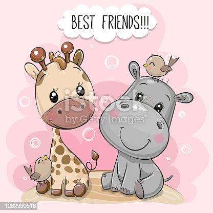 istock Cartoon Hippo and Giraffe on a pink background 1282990518