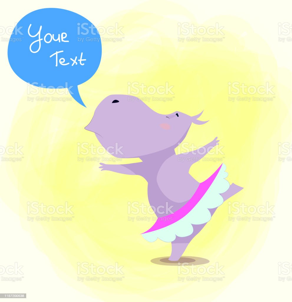 Cartoon hippopotamus dance. Vector. Kids design