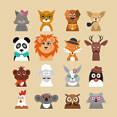 Cartoon Hipster Animals Characters Icon Set Fashion Portrait or Avatar Concept Flat Design Style. Vector illustration of Animal