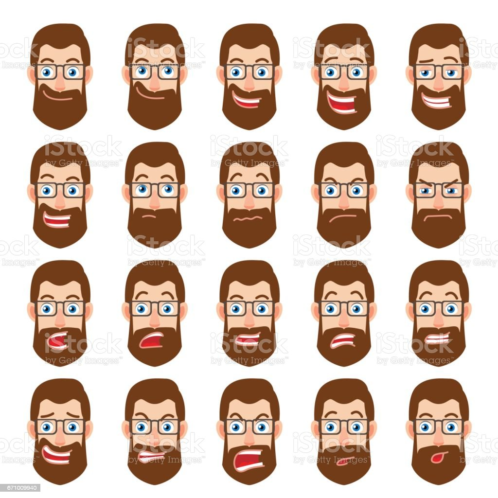 Cartoon Hipster Businessman Character. Different facial expressions vector art illustration