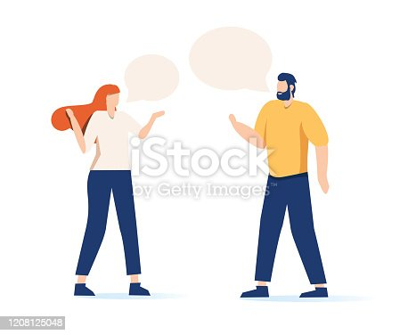 Cartoon hipster man talking to elegant girl with speech bubbles vector flat illustration. Couple having conversation each other isolated on white background. Male and female discussing