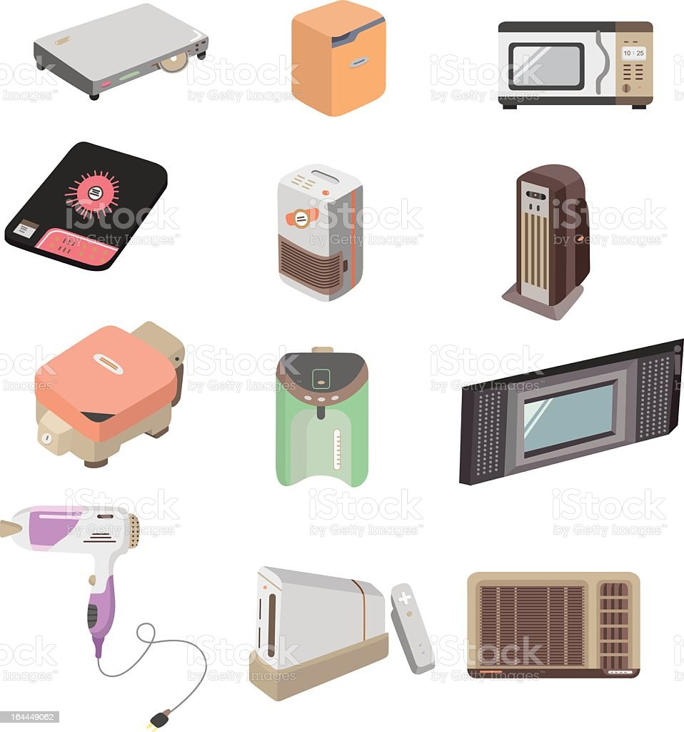 cartoon home appliances icons royalty-free stock vector art