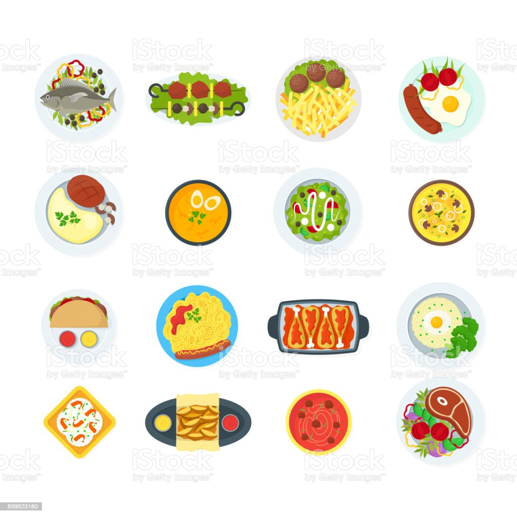 Cartoon Home Cooking Healthy Foods Dishes Menu Set Vector