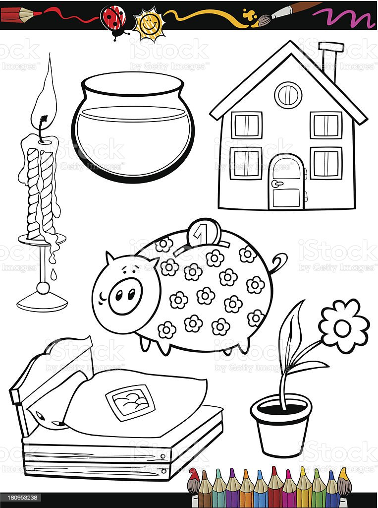 cartoon home objects coloring page royalty-free stock vector art