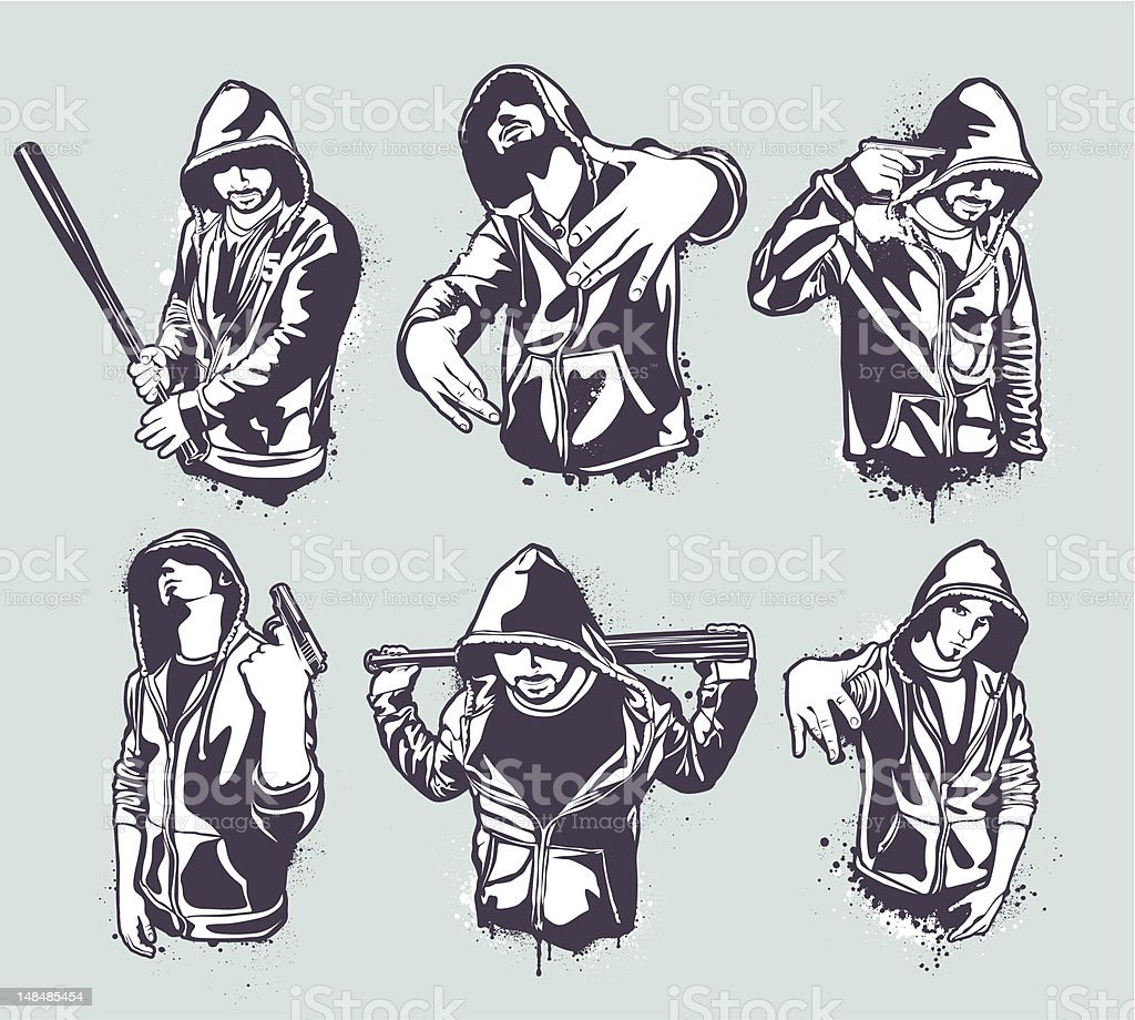 Cartoon Hooded Gangster Set Of Six Stock Illustration Download Image Now Istock