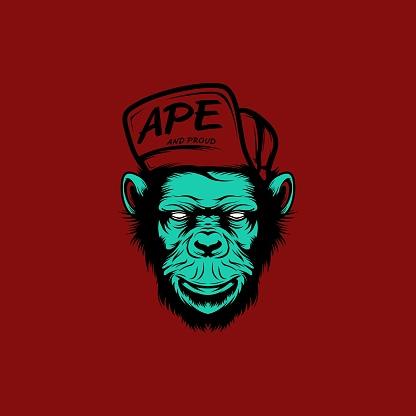 Cartoon Horror Monkey Head Illustration