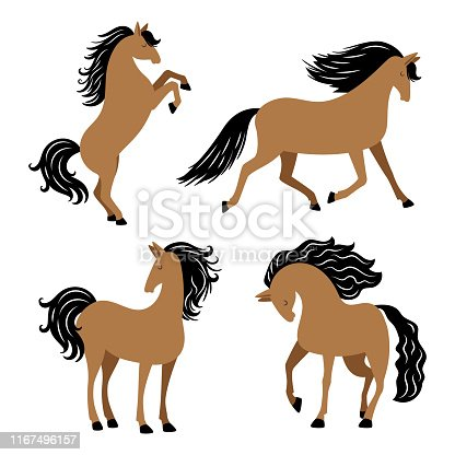 Cartoon horse in different poses vector isolated on white background. Illustration of animal horse with black mane
