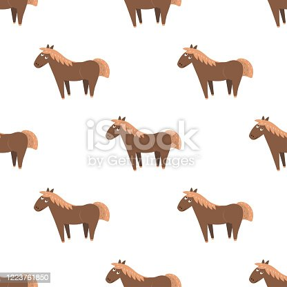 Cartoon horse seamless pattern on white background. Brown little pony or donkey endless texture. Vector illustration of wildlife character, wallpaper wrapping paper design repeatable structure