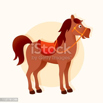 Cartoon horse, cute isolated character,  illustration for children