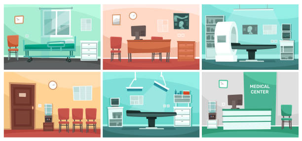 Cartoon hospital room. Medical interiors, doctor office and surgery clinic or hospitals empty waiting room interior vector illustration Cartoon hospital room. Medical interiors, doctor office and surgery clinic or hospitals empty waiting room interior. Patient hospitalization reception, clinical consultation rooms vector illustration bedroom backgrounds stock illustrations