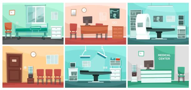 bildbanksillustrationer, clip art samt tecknat material och ikoner med tecknad sjukhus rum. medicinska interiörer, läkare kontor och kirurgi klinik eller sjukhus tomma väntrum interiör vektor illustration - sjukhusavdelning